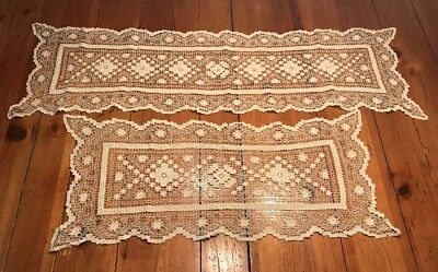 "Beautiful Lace Table Runners, Antique, Handmade, Two Lengths - 45"" and 32"""
