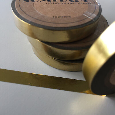 Washi Tape Thin Skinny Solid Colour Gold Foil 7.5Mm X 10Mt Plan Craft Scrap Wrap