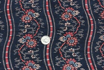 Rare Antique French Indigo& Turkey Red Double Resist Printed Cotton Fabric c1810