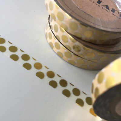 Washi Tape Thin Skinny Gold Foil Big Spots 7.5Mm X 10Mt Plan Craft Scrap Wrap