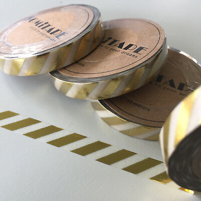 Washi Tape Thin Skinny Gold Foil Diagonal Stripe 7.5Mm X 10Mt Plan Craft Scrap