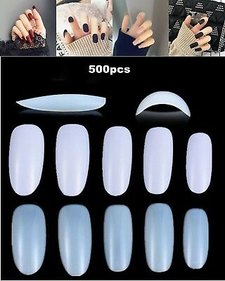 500pcs Nail Art Round End Oval Full Cover Nails Fake Nail Tips French 10 Size AU