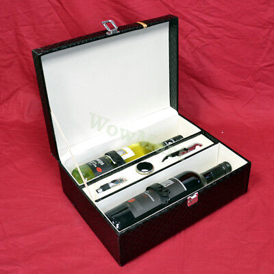 New Premium PU Leather 2-Bottle Wine Gift Box Carry Case Accessory Kit B