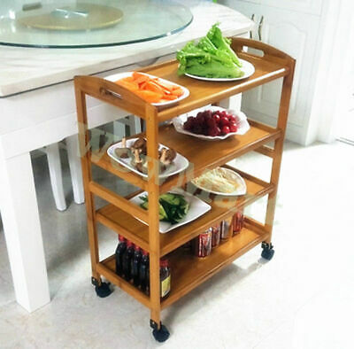 All-purpose 4Tier Bamboo Storage Rack Kitchen Dining Serving Island Cart Trolley