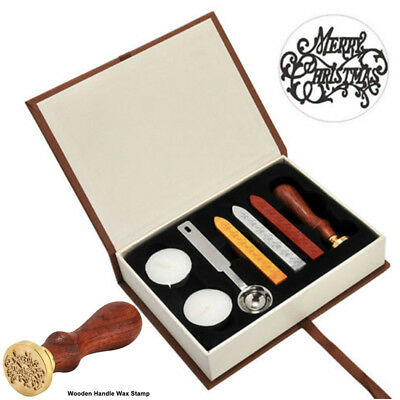 Merry Christmas Vintage Seal Sealing Wax Stick Stamp Set For Party Invitation