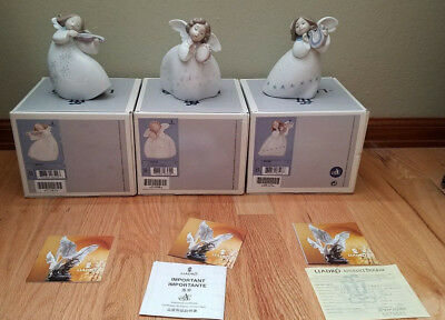 Retired XMAS LLADRO LITTLE ANGEL Beautiful Set Of 3 MINT w/ BOXES 6528 6529 6530