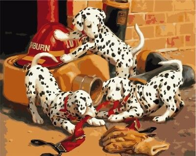 Paint by Numbers Kit 40x50cm with FRAME - Fireman Dalmatians