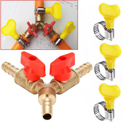 "5/16"" 8MM Brass Y 3-Way Shut Off Ball Valve 3X Clamps Fitting Hose Barb Fuel Gas"