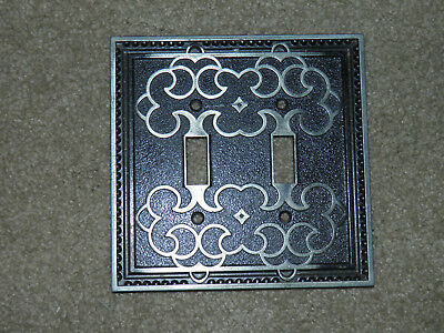 Vintage Metal Ornate Black Antique Brass Double Light Switch 2 Toggle GE 481C513