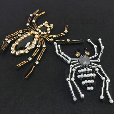 1x Beaded Rhinestones Patche Sew On Badge Clothes Brooch Applique Gold Silver