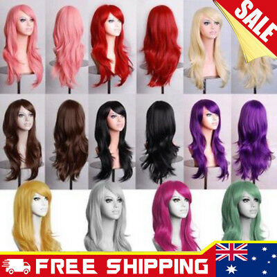 Girl Womens 70cm Long Wavy Curly Hair Synthetic Cosplay Full Wig Wigs Party Cap