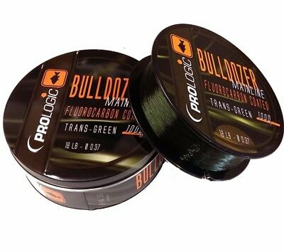 Prologic Bulldozer Flurocarbon Coated Mono Trans Green Carp Fishing Line 1000m