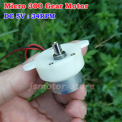 Micro 300 Gear Reduction Motor DC 3V-5V 34RPM 0.03A Slow Speed 2-wires For Toy