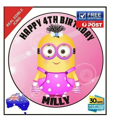 Despicable Me Minions pink party Edible Icing Image Cake Topper Personalised