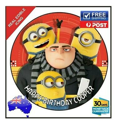 Minion DESPICABLE ME 3 Edible Icing Image Birthday Cake Topper Personalised