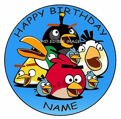ANGRY BIRDS Edible Icing Image Cake Topper Personalised Birthday Decoration 19cm
