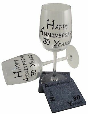 30th Wedding Anniversary Wine Glass and Coaster Set (Pearl) (B/S)