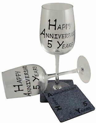 5th Wedding Anniversary Gift Wine Glass and Coaster Set (Blk/Sil)