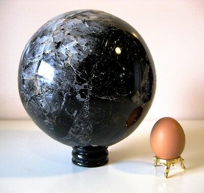 Giant 8.4kg 15cm Tourmaline in Quartz Crystal Ball Orb Sphere on Rosewood Stand