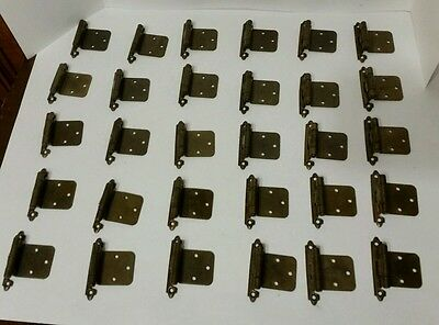 "VTG  Lot 36 AMEROCK CABINET DOOR Offset HINGES 3/8"" Antique BRASS & Screws"