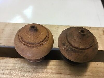 Very Nice Pair Of Antique Maple Wooden Finials Or Drawer Pulls