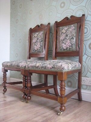 Superb Pair Of SOLID MAHOGANY Upholstered Antique Hall/Bedroom/Landing  Chairs