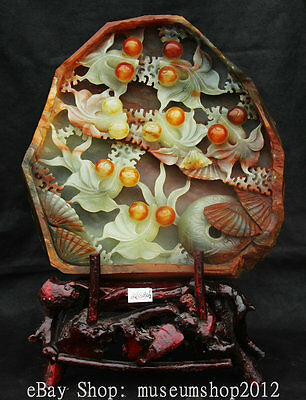 """17"""" Chinese Natural Xiu Jade Handmade Carved Conch GoldFish Conch Lucky Statue"""