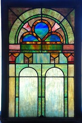 1913 Nouveau Stained Leaded Glass Church Window - Spence Bell