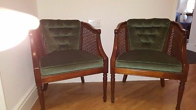 Bergere pair of chairs Green Velvet button back cushion seat