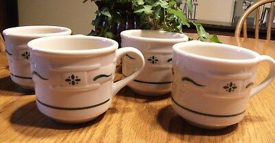 Set of 4 LONGABERGER POTTERY WOVEN TRADITIONS HERITAGE GREEN SMALL COFFEE MUG 3""