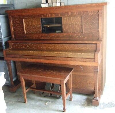Beautiful Antique Tiger Oak Kohler & Campbell Player Piano~Bench~10 Music Rolls
