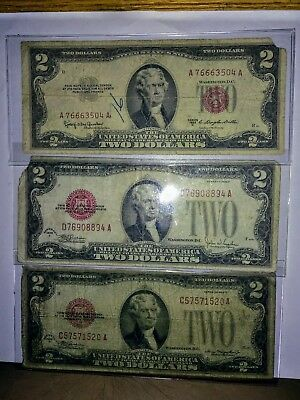 (3)  $2 DOLLAR RED SEAL NOTES ** 1928 D ** 1928 F **  1953 C Nice Old Paper 222