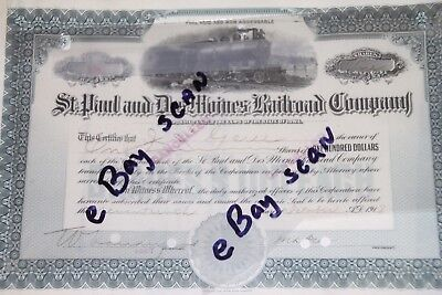 St. Paul and Des Moines Railroad Company Stock Certificate Vintage