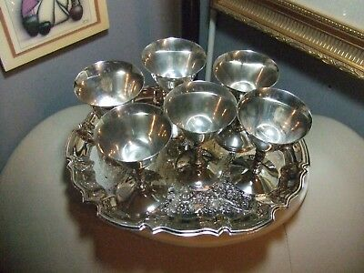 Vintage Antique Silver Plate Goble tMixed  Set of 6 Wine Goblets /w Serving Tray