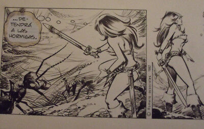 "Axa Comic Strip Original Art Sept 7 23 1982 No 1270, ""Trap The Soldier Ant"""
