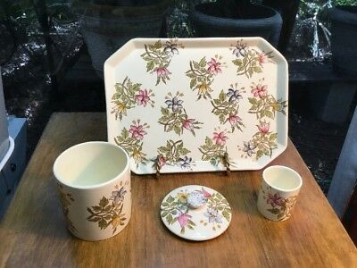 Antique French Faience 4 Piece Dresser Set from Luneville c.1880