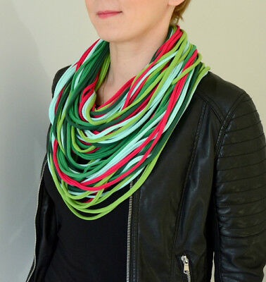 knitted necklace scarf  handmade 100% cotton multi yellow grey red green pink