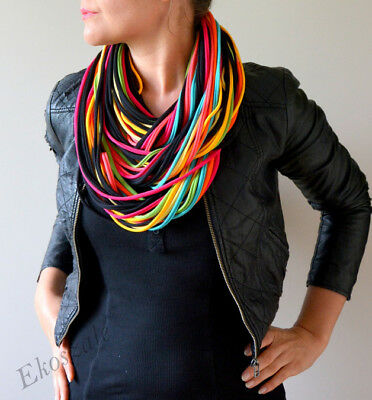 knitted necklace scarf  handmade 100% cotton m7 yellow red green pink black