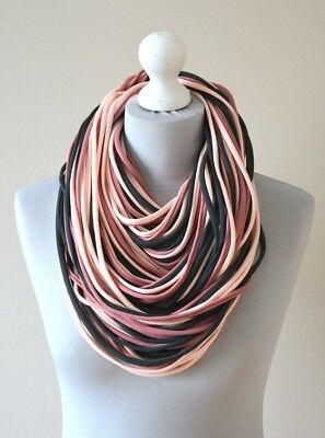 knitted necklace scarf  handmade 100% cotton grey light pink purple