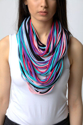 knitted necklace scarf  handmade 100% cotton m10 blue black light pink purple