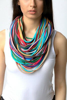 knitted necklace scarf  handmade 100% cotton m9 green red blue brown yellow