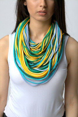 knitted necklace scarf  handmade 100% cotton green blue yellow