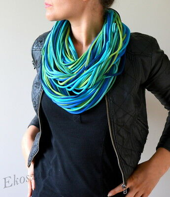 knitted necklace scarf  handmade 100% cotton blue green