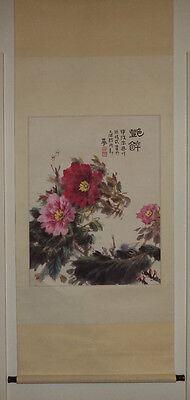 Old Oriental Hanging Scroll  Flowers and Bees Colorful Attractive.