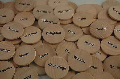 Inspirational Coin Pocket Tokens, 52 words on wooden nickels in faux leather bag