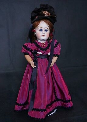 """Antique Bisque Socket Head M Doll 14"""" Tall Closed Mouth Sad Face"""