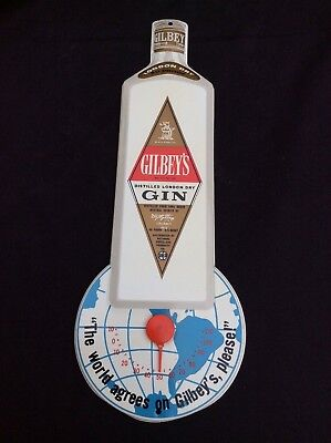 Gilbey's gin advertising tin litho advertising thermometer store display sign