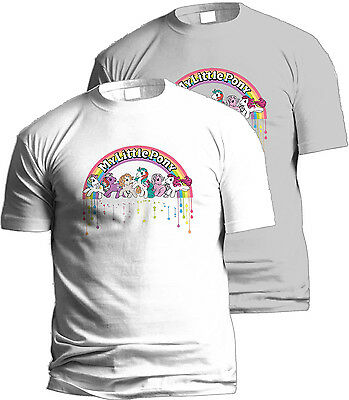 My Little Pony Rainbow Retro Badge  UCL Official T-shirt Hasbro TM