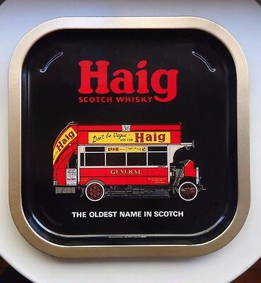 VINTAGE HAIG Scotch Whisky Metal Tray *Red Double Decker Bus *Made in UK