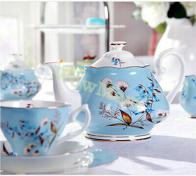 Fine Bone China Pottery Porcelain Elegant Ceramic 21Pcs Coffee Tea Pot Cup Set E
